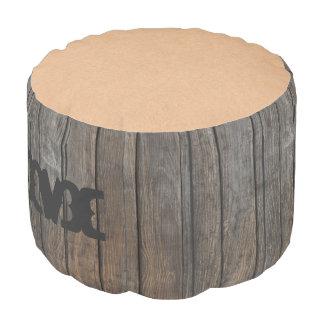 Monogram: Dark Wooden Panel. Pouf