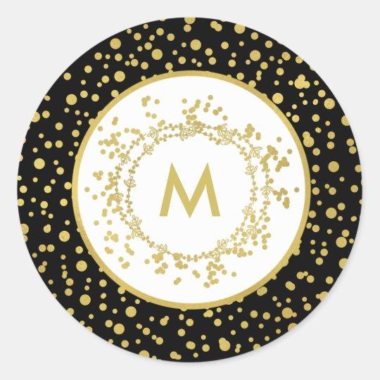 Monogram Decorative Black & White Christmas Classic Round Sticker
