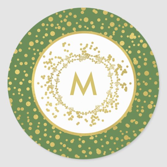 Monogram Decorative Green & White Christmas Classic Round Sticker