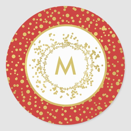 Monogram Decorative Red & White Christmas Classic Round Sticker