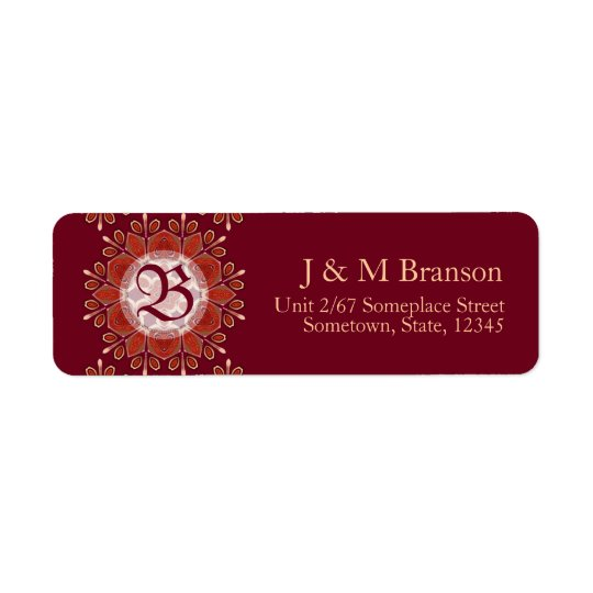Monogram Deep Red Floral Emblem Address Label