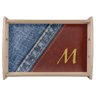 Monogram Denim and Leather Serving Tray