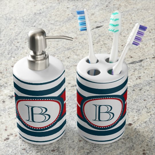 Monogram design bath accessory set