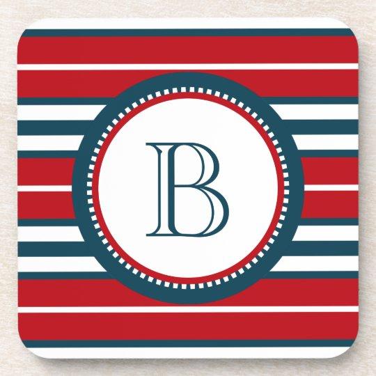 Monogram design beverage coaster