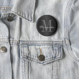 Monogram Design   Classic Black, Gray and White 6 Cm Round Badge