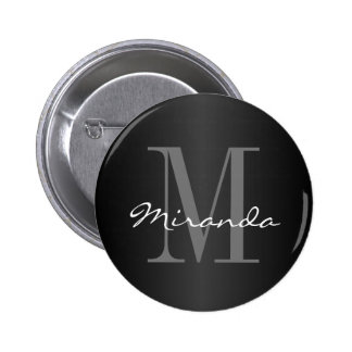 Monogram Design | Classic Black, Gray and White 6 Cm Round Badge