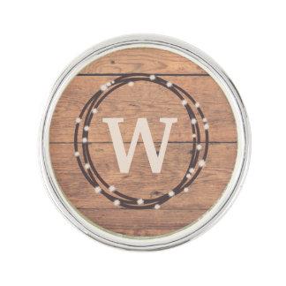 Monogram design lapel pin