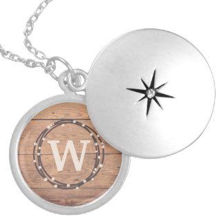 Monogram design locket necklace
