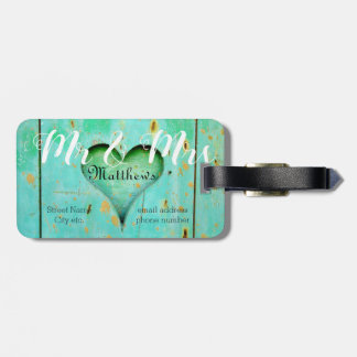 Monogram Design on Carved Wooden Heart Luggage Tag