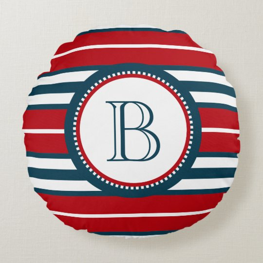 Monogram design round cushion