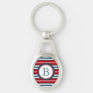Monogram design Silver-Colored oval key ring