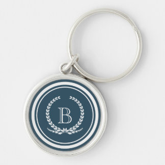 Monogram design Silver-Colored round key ring