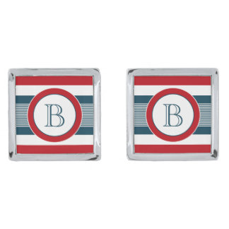Monogram design silver finish cufflinks
