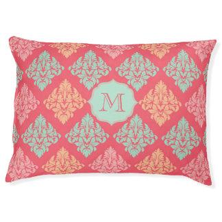 Monogram dog bed Pink and mint green damask