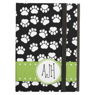 Monogram - Dog Paws, Paw-prints - White Black Case For iPad Air