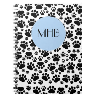 Monogram - Dog Paws, Traces, Paw-prints - Black Notebook