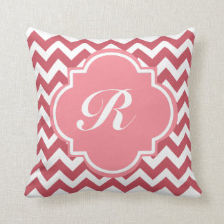 Monogram Dusty Rose and Deep Red Chevron Throw Pillow