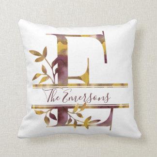 Monogram E - Watercolor - Personalized Cushion