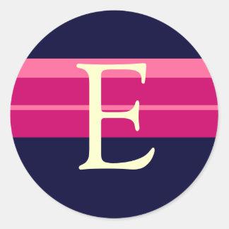 Monogram E Wedding Pink Navy Ivory Stickers