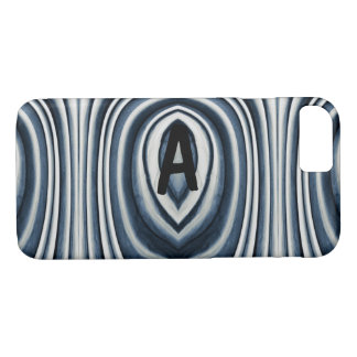 Monogram, Earth Toned Blue Abstract Pattern iPhone 8/7 Case