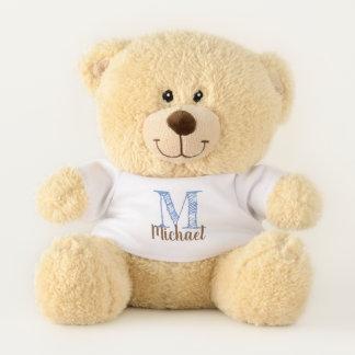 Monogram Edit Blue for Custom Initial and Name Teddy Bear