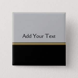 Monogram Elegance in Black Grey Gold 15 Cm Square Badge