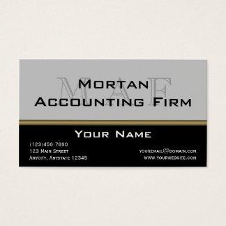 Monogram Elegance in Black Grey Gold Business Card