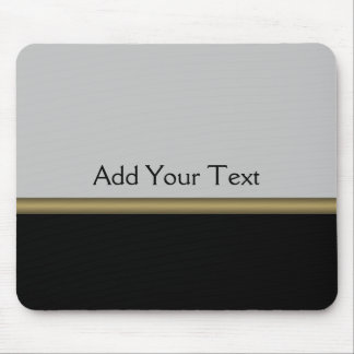 Monogram Elegance in Black Grey Gold Mouse Pad