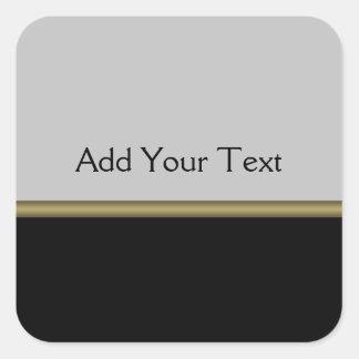 Monogram Elegance in Black Grey Gold Square Sticker