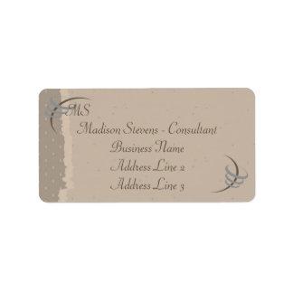 Monogram Elegant Beige, Brown Address Labels