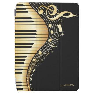 Monogram Elegant Black And Gold Music Notes Design iPad Air Cover