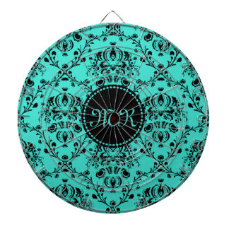 Monogram Elegant Black Damask Turquoise Feminine Dart Board