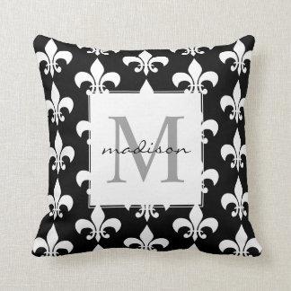 Monogram Elegant Black White Fleur de lis Pattern Cushion