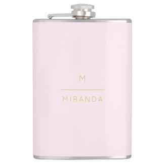Monogram Elegant Blush Pink Gold Minimalist Classy Hip Flask