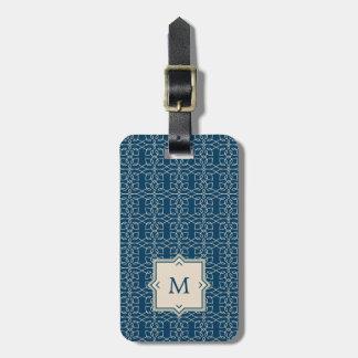 Monogram | Elegant Blush Pink Pattern on Blue Luggage Tag