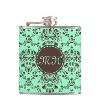 Monogram Elegant Chocolate Brown Damask Mint Green Hip Flask