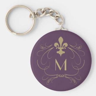 Monogram Elegant Fleur de Lis Purple Gold Basic Round Button Key Ring