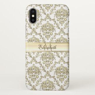 Monogram Elegant Gold Damask iPhone X Case