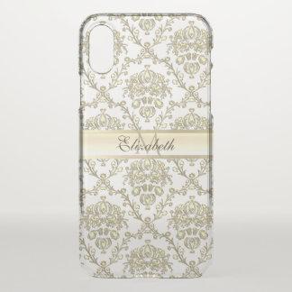 Monogram Elegant Gold Damask iPhone X Plus Case