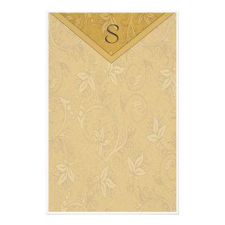 Monogram Elegant Gold Floral Customised Stationery