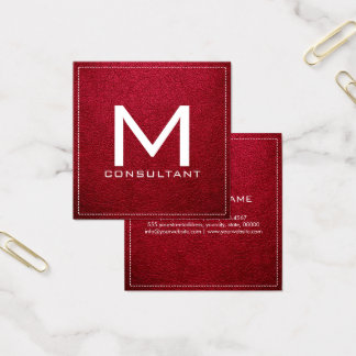 Monogram Elegant Modern Alabama Crimson Leather Square Business Card