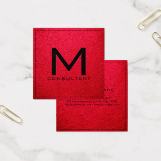 Monogram Elegant Modern American Rose Leather Square Business Card