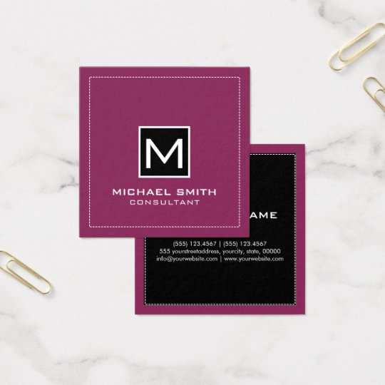 Monogram Elegant Modern Balck Raspberry Square Business Card