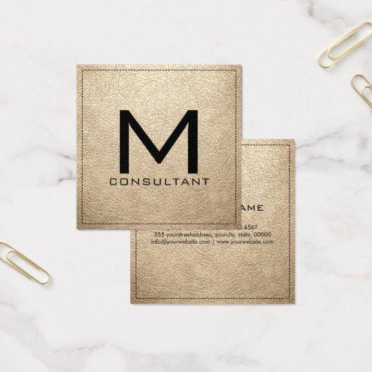 Monogram Elegant Modern Bisque Leather Square Business Card