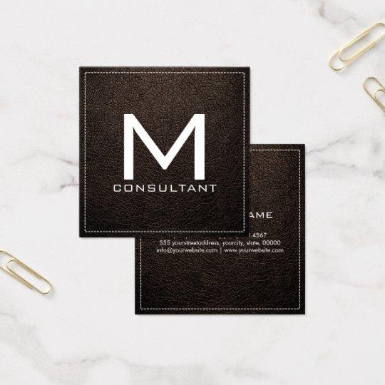 Monogram Elegant Modern Bistre Leather Square Business Card