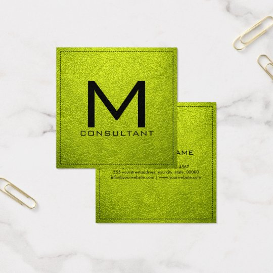 Monogram Elegant Modern Bitter Lemon Leather Square Business Card