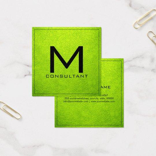 Monogram Elegant Modern Bitter Lime Leather Square Business Card