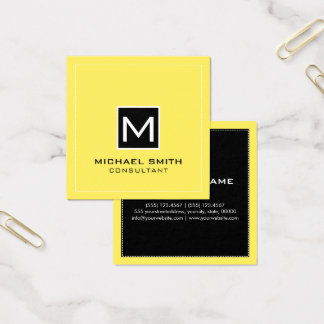 Monogram Elegant Modern Black Corn Square Business Card