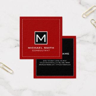 Monogram Elegant Modern Black Crimson Red Square Business Card