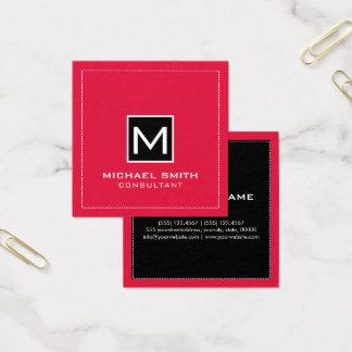 Monogram Elegant Modern Black Crimson Square Business Card